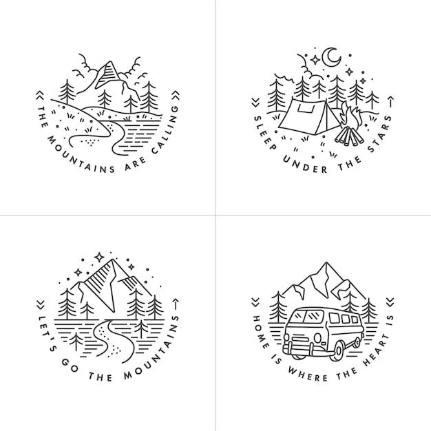 Imposta l & # 39; icona e le montagne dei loghi Vettore Premium