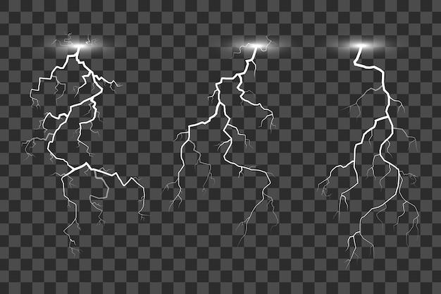 Set di fulmini isolato su sfondo trasparente Vettore Premium