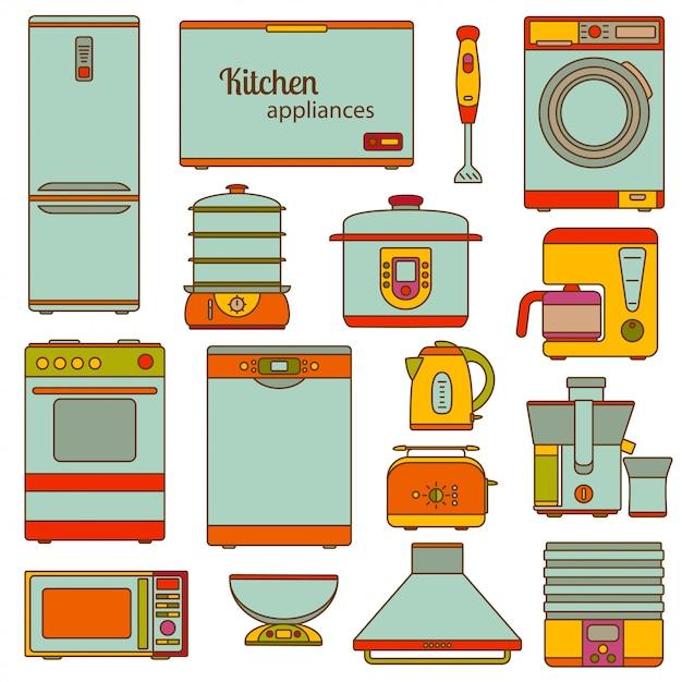 Set di icone di linea. set di icone di elettrodomestici da cucina. illustrazione. Vettore Premium