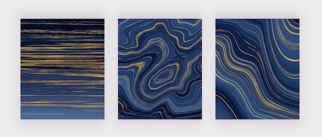 Impostare la struttura in marmo liquido. estratto di pittura a inchiostro glitter blu e dorato. sfondi di tendenza nell'arte moderna. Vettore Premium