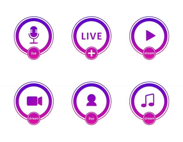 Set di icone di streaming live. simboli e pulsanti sfumati di live streaming, trasmissione, webinar online. etichetta per tv, spettacoli, film e spettacoli dal vivo. illustrazione piatta. Vettore Premium