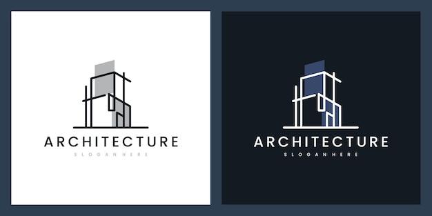 Imposta l'architettura del logo con l'ispirazione per il design del logo del concetto di linea Vettore Premium
