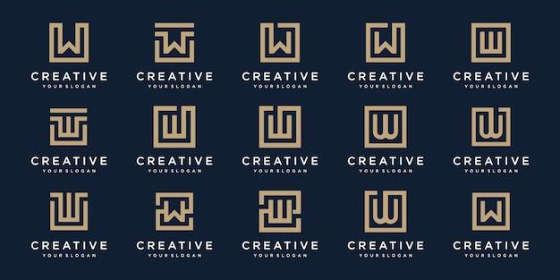 Set di lettera logo w con stile quadrato. modello Vettore Premium