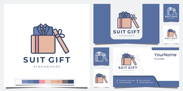 Set regalo completo logo con modello di colore Vettore Premium