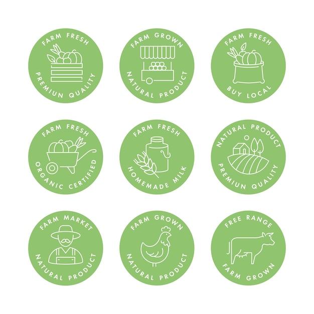 Set di loghi, distintivi e icone per prodotti naturali di fattoria e salute. Vettore Premium