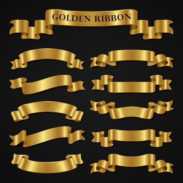 Set di nastri d'oro di lusso Vettore Premium