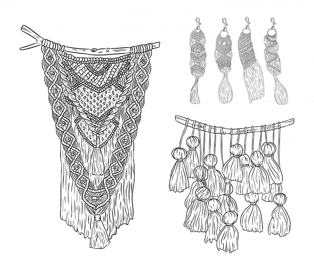 Set di appendini e portachiavi da parete in stile boho macramè scarabocchi. collezione di elementi di design di annodatura tessile. mestiere indigeno moderno lineare semplice Vettore Premium