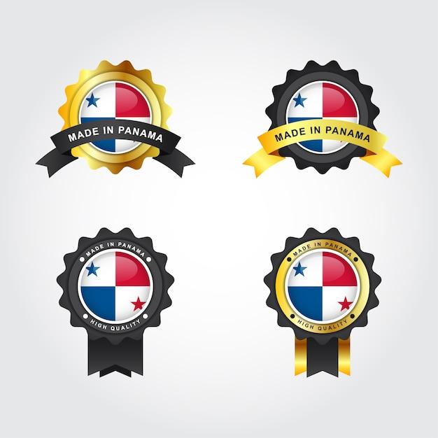 Set made in panama con emblema distintivo etichette illustrazione modello di progettazione Vettore Premium