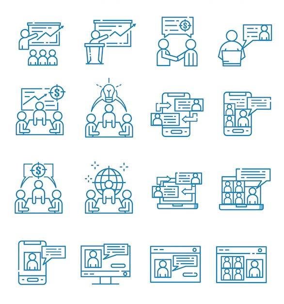 Set di icone riunione con stile contorno Vettore Premium