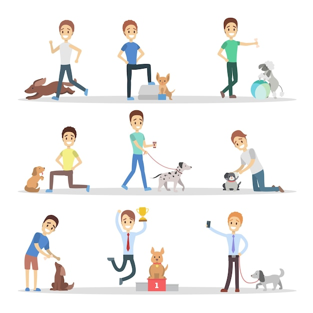 Insieme di uomini che camminano, giocano e addestrano i loro simpatici cani. ragazzi che si prendono cura degli animali domestici. proprietari di cani. illustrazione Vettore Premium