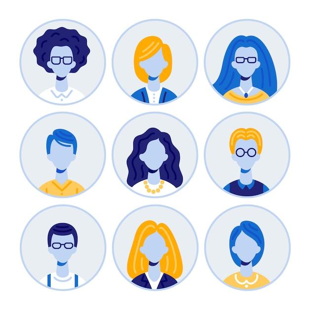 Set di ritratti di uomini e donne, icone rotonde avatar Vettore Premium
