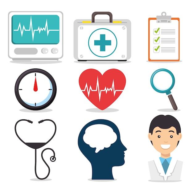 Set di icone di salute mentale e mediche Vettore Premium