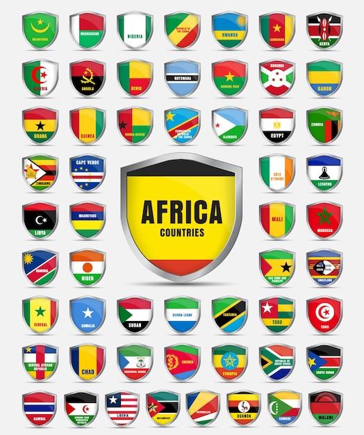 Serie di lamiere con le bandiere dei paesi del continente africano. Vettore Premium