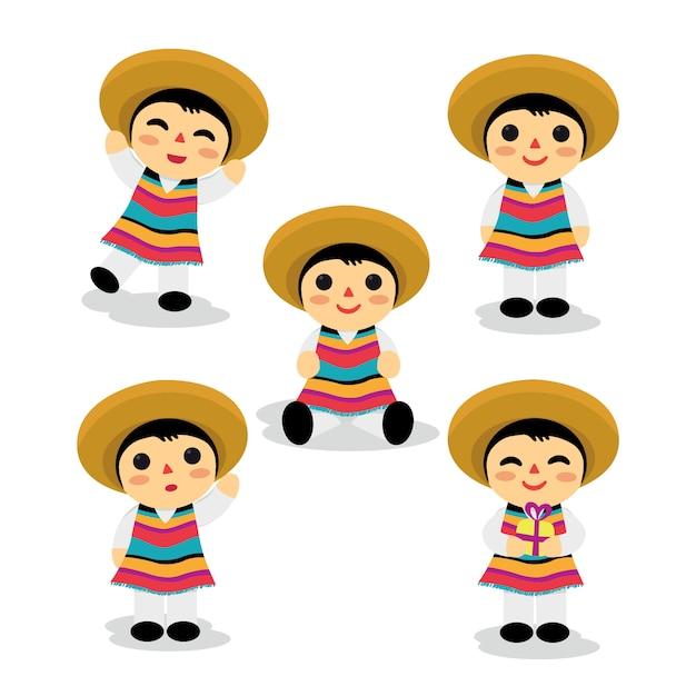 Set di ragazzo messicano giocattolo Vettore Premium