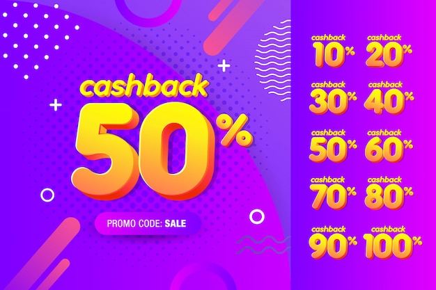 Set di modello di progettazione banner moderno con offerta di cashback. Vettore Premium