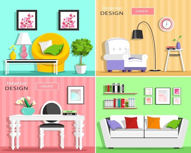 Set di elementi interni del soggiorno moderno: divano, poltrona, sedia, tavolo, lampada, mensole, immagini. illustrazione. Vettore Premium