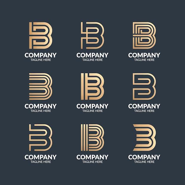 Set di monogramma moderno lettera b logo design template Vettore Premium