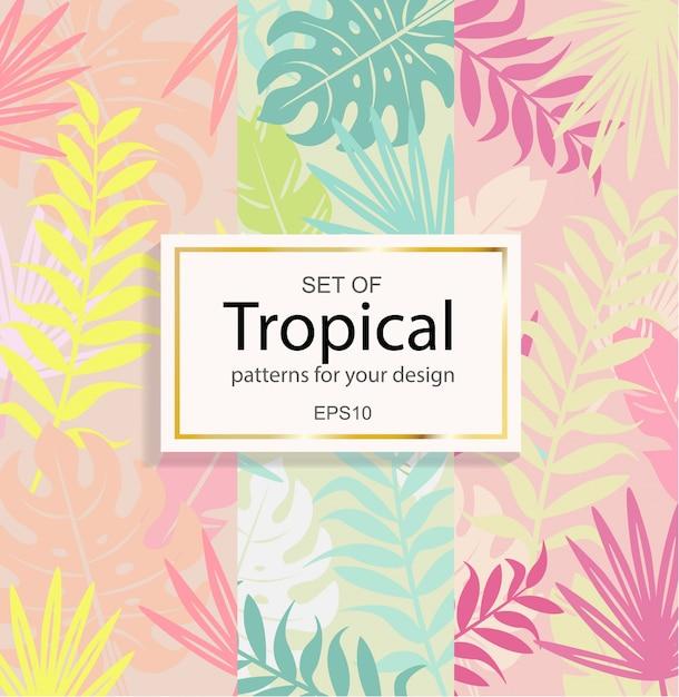 Set di sfondo tropicale moderno per il tuo design. Vettore Premium