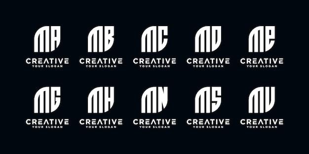 Set di monogramma lettera creativa m ed ecc modello di logo. icone per affari di lusso, eleganti, semplici Vettore Premium