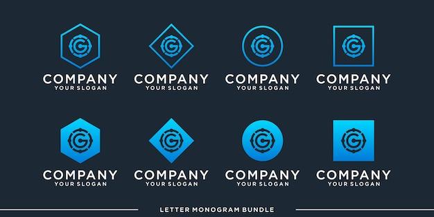 Imposta il logo g monogramma Vettore Premium