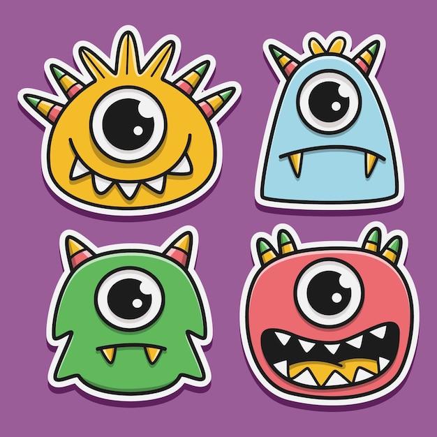 Set di mostri fumetto doodle carattere Vettore Premium