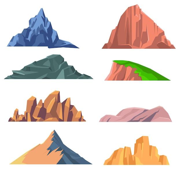 Set di montagne rocce icona piatta Vettore Premium