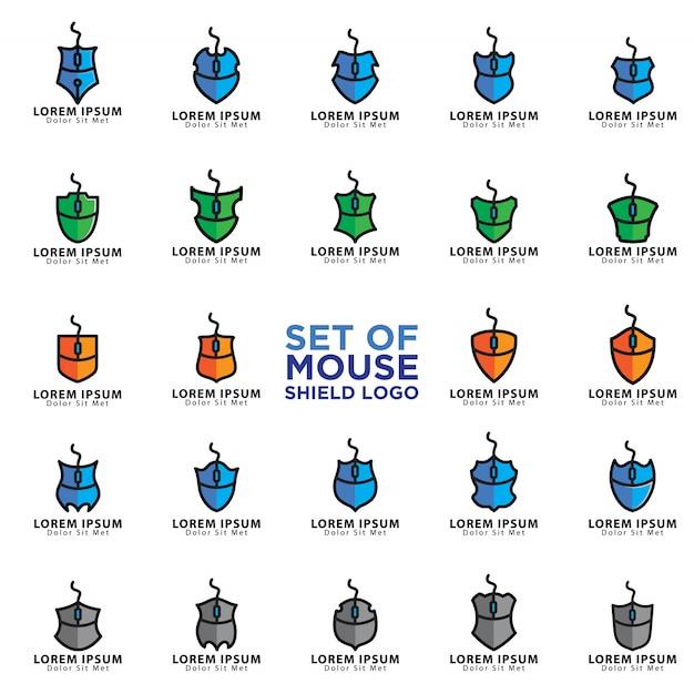 Set di loghi del mouse Vettore Premium