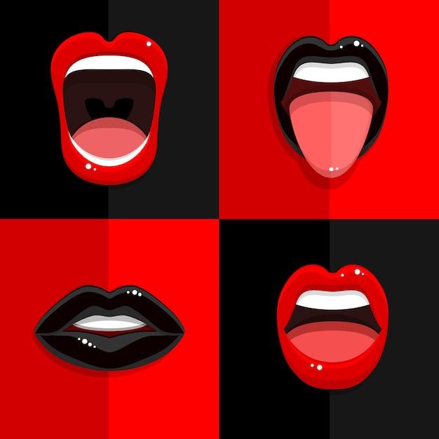 Set di bocca con labbra nere e rosse Vettore Premium