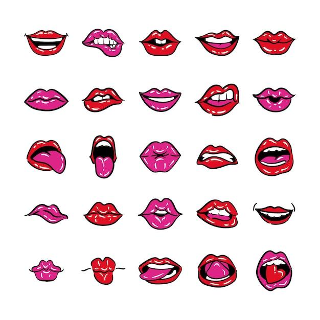Set di bocche linea pop art e stile di riempimento illustrazione vettoriale design Vettore Premium