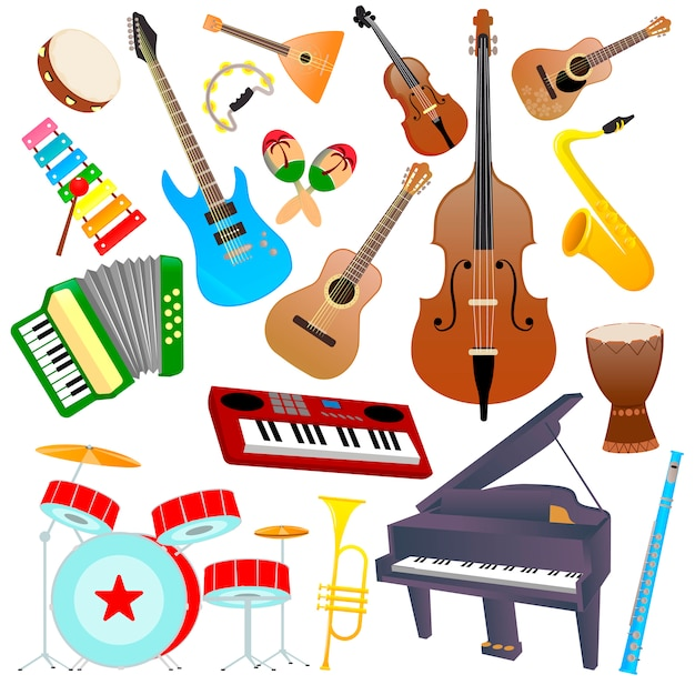 Set di strumenti musicali su uno sfondo bianco Vettore Premium