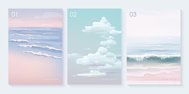 Set di sfondo del paesaggio naturale Vettore Premium