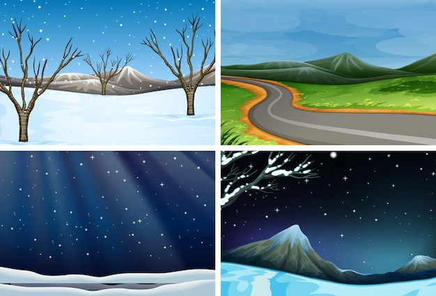 Set di paesaggio naturale Vettore Premium