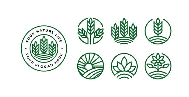 Set di modello di logo di natura con distintivi Vettore Premium