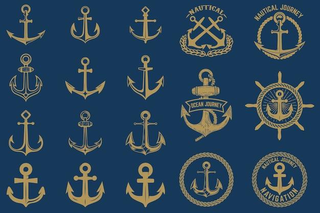 Set di emblemi nautici ed elementi in stile vintage. etichette di ancoraggi impostate su sfondo blu. Vettore Premium