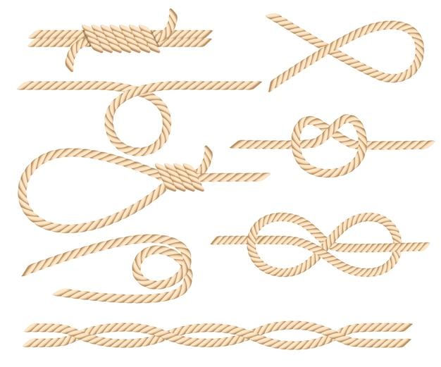 Set di nodi di corda nautica Vettore Premium