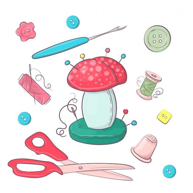Set di accessori per cucire per aghi. Vettore Premium