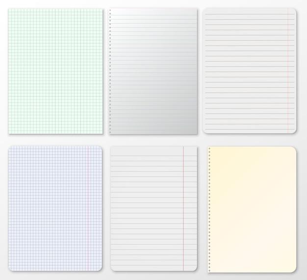 Set di note, quaderno a righe, carta a quadretti bloccato su sfondo grigio. Vettore Premium