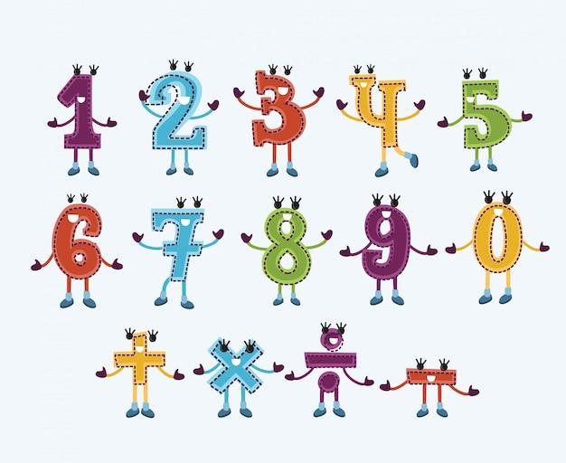 Set di caratteri numerici e segni con volti sorridenti Vettore Premium