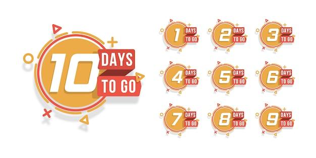 Set di numero di giorni per il conto alla rovescia. conto alla rovescia da 1 a 10, l'etichetta o l'emblema dei giorni rimasti possono essere utilizzati per promozione, vendita, pagina di destinazione, modello, interfaccia utente, web, app mobile, poster, banner, volantino. . Vettore Premium