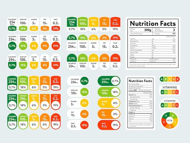 Insieme di elementi e fatti nutrizionali Vettore Premium