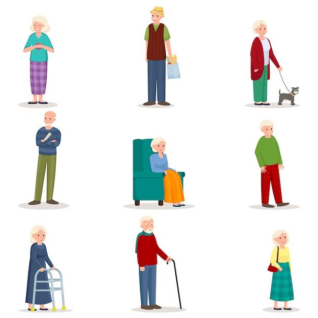 Insieme della donna e dell'uomo senior anziani nell'azione differente Vettore Premium