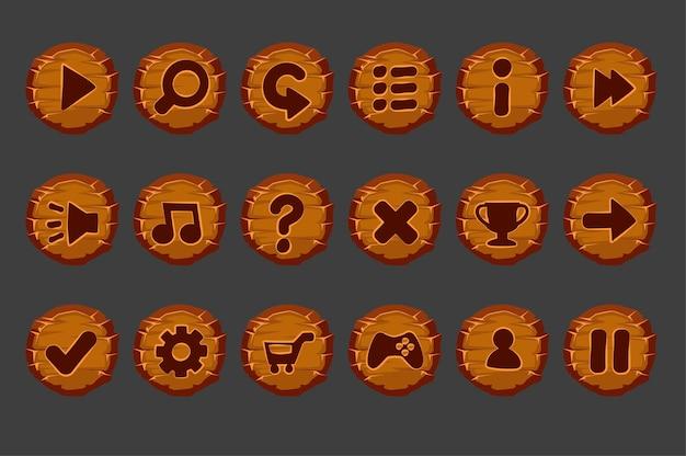 Insieme di vecchi pulsanti in legno per il menu di gioco. Vettore Premium
