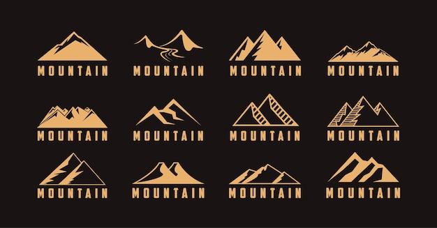 Set di logo di avventura di viaggio all'aperto con illustrazione dell'icona di montagna Vettore Premium