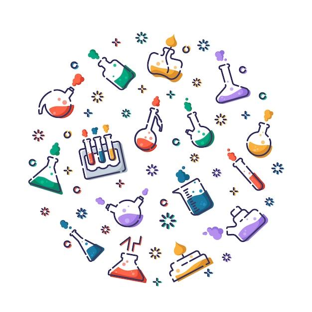 Set di boccette di icone riempite di contorno, provette per diagnosi, esperimento scientifico Vettore Premium