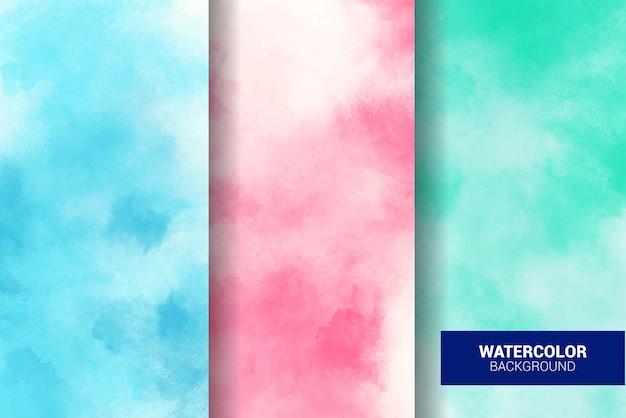 Set di sfondo acquerello pastello. struttura del grunge. pittura d'arte digitale Vettore Premium