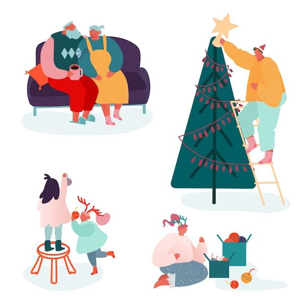 Set di personaggi di persone che celebrano il buon natale e il nuovo anno invernale. genitori e figli della famiglia che decorano l'albero di natale, cantano canti natalizi, confezionano regali sulla scena del camino. Vettore Premium