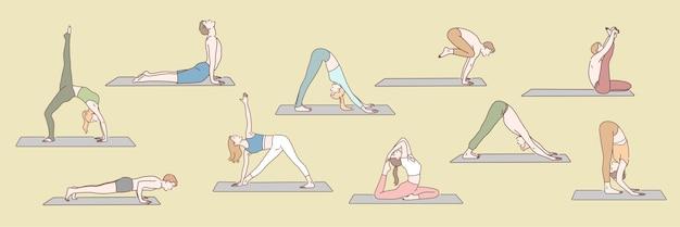 Insieme di persone che fanno il concetto di yoga Vettore Premium