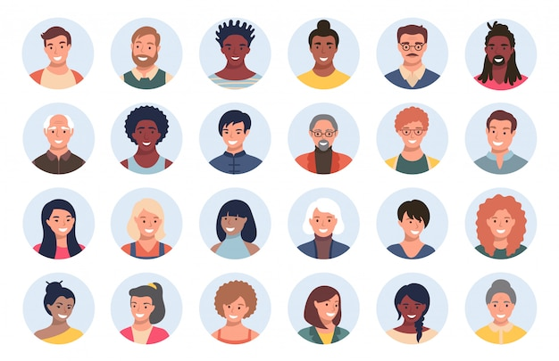 Insieme di persone, avatar, persone Vettore Premium