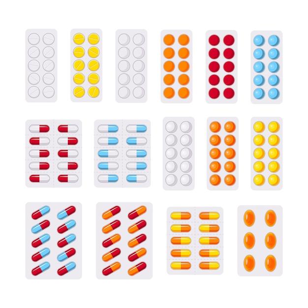 Set di pillole in blister Vettore Premium