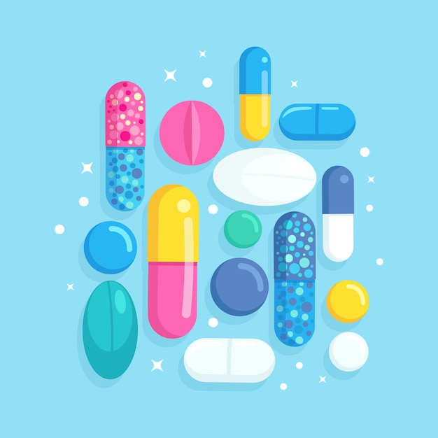 Set di pillole, medicine, farmaci. compressa antidolorifica, vitamina, antibiotici farmaceutici. concetto di assistenza sanitaria. cartone animato Vettore Premium